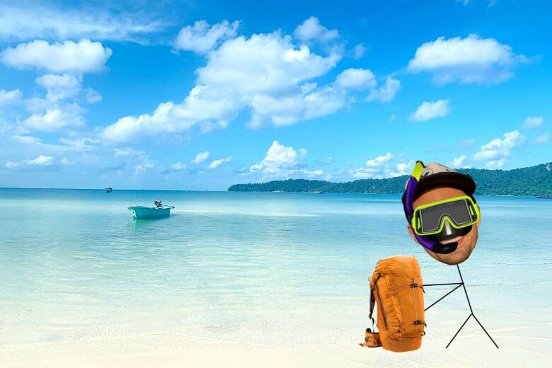 stick figure with a snorkel mask on saracen bay, one of the best Koh Rong Samloem beaches in Cambodia