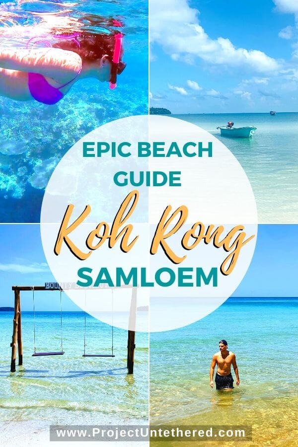pictures of koh rong samloem beaches with text overlay epic beach guide koh rong samloem