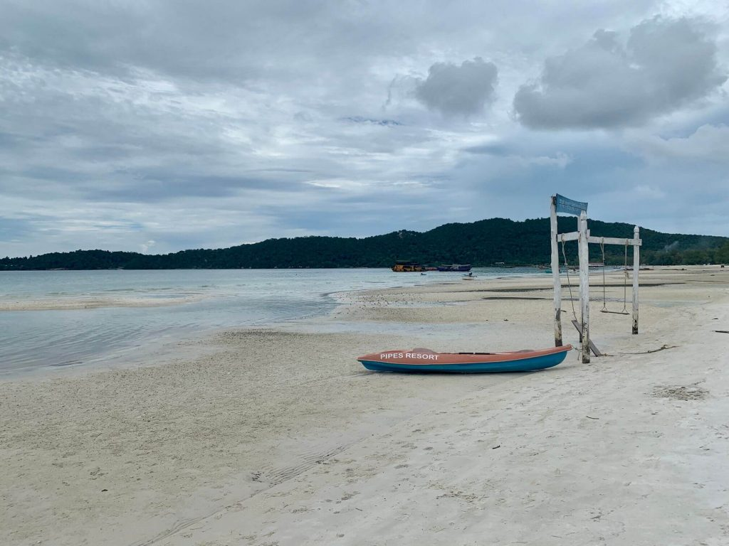 cloudy day with low tide on Saracen Beach, Koh Rong Samloem, Cambodia