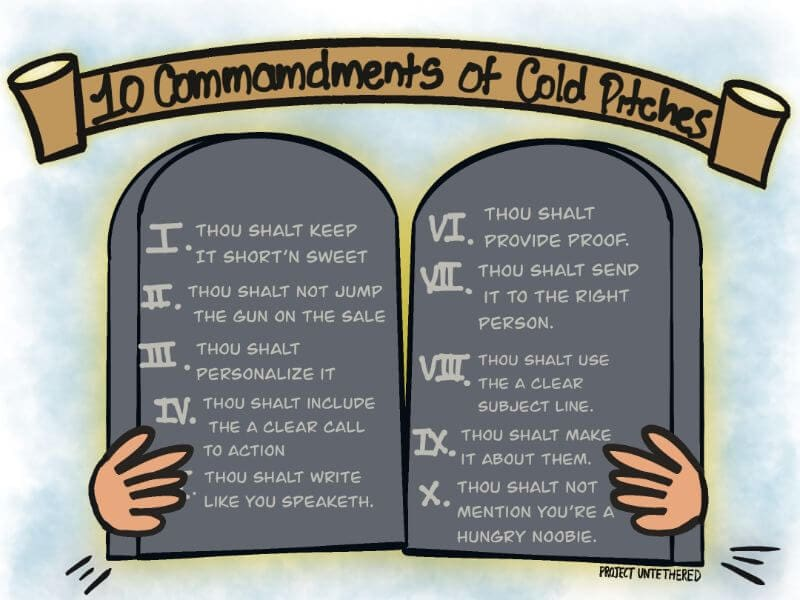 graphic showing the 10 commandments of cold email pitches to land freelance writing jobs for beginners