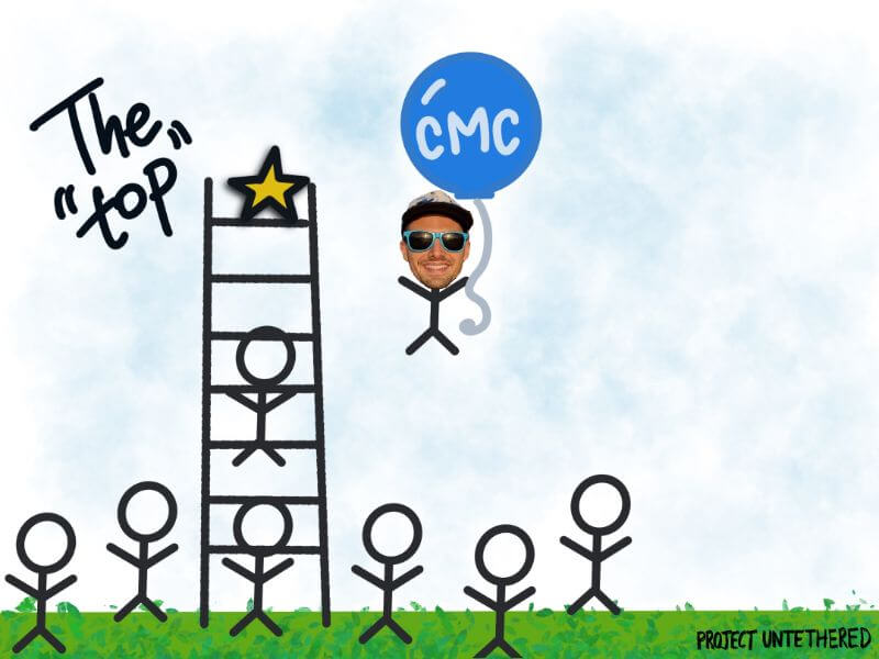 graphic of stick people trying to climb the top of a ladder, with one stick person floating to the top with a balloon that says CMC