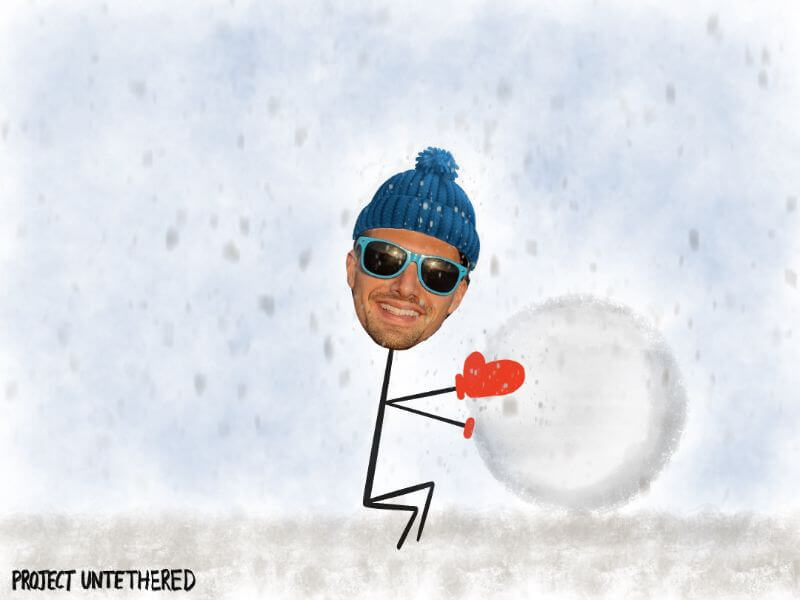 stick person rolling a snowball