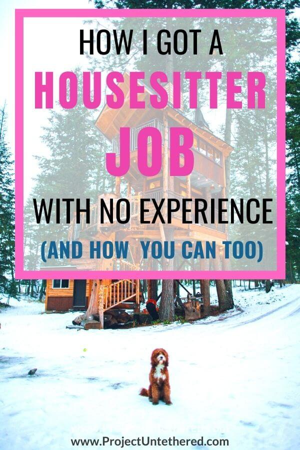 house image with dog with text overlay how i got a housesitter job with no experience and how you can too