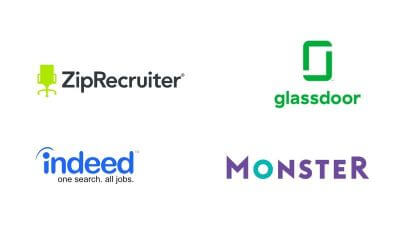 logos for ziprecruiter, glassdoor, indeed, and monster job boards