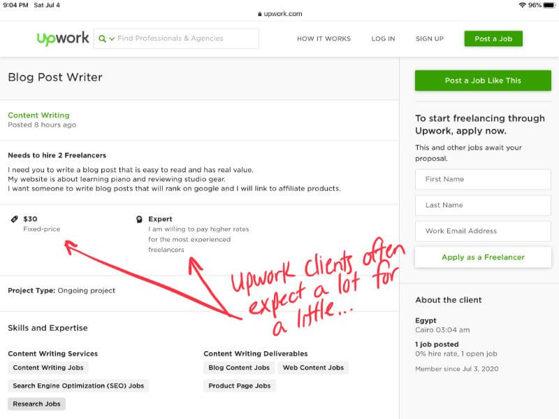 screenshot showing upwork job listing