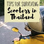 riding scooter picture with text overlay 10 tips for surviving scooters in thailand