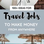 pictures with text overlay 100 ideas for travel jobs to make money from anywhere