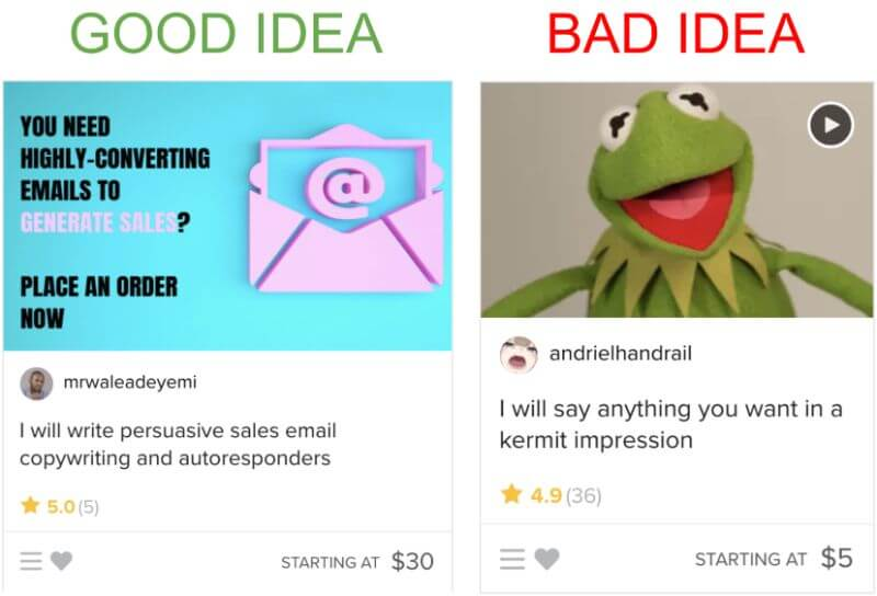 Good and bad drop servicing ideas found on Fiverr