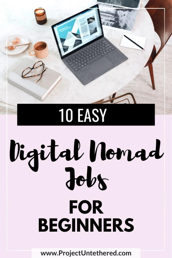 laptop picture with text overlay 10 easy digital nomad jobs for beginners