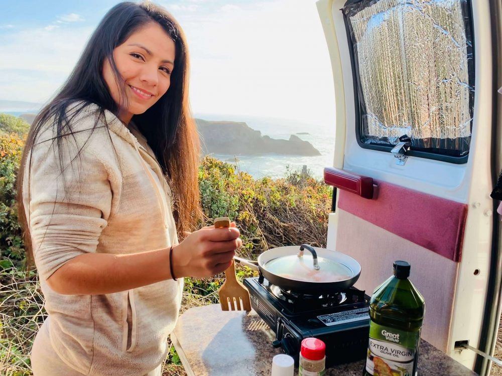 cooking in a van with a nice view