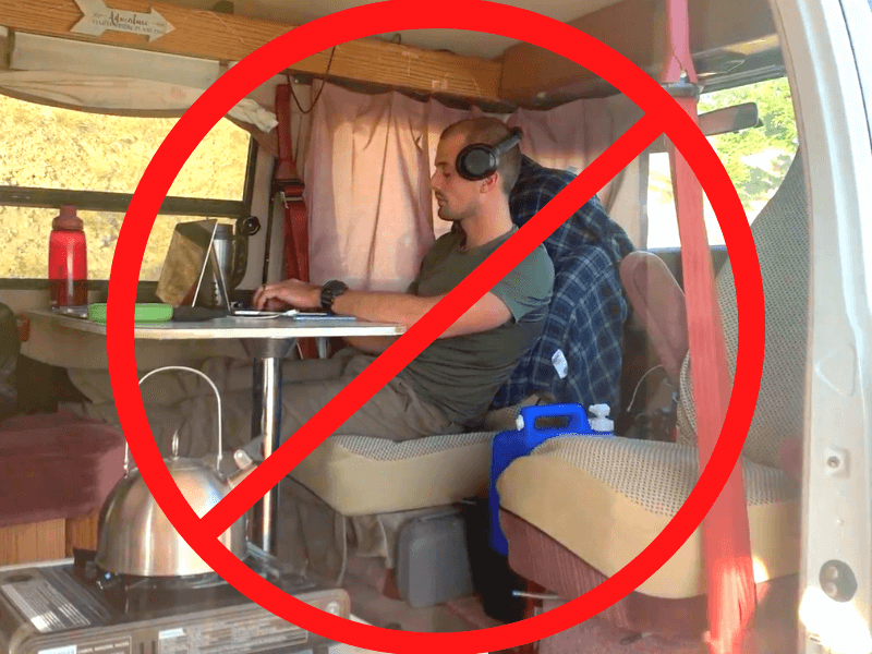 guy slouching over laptop showing bad posture for van life jobs