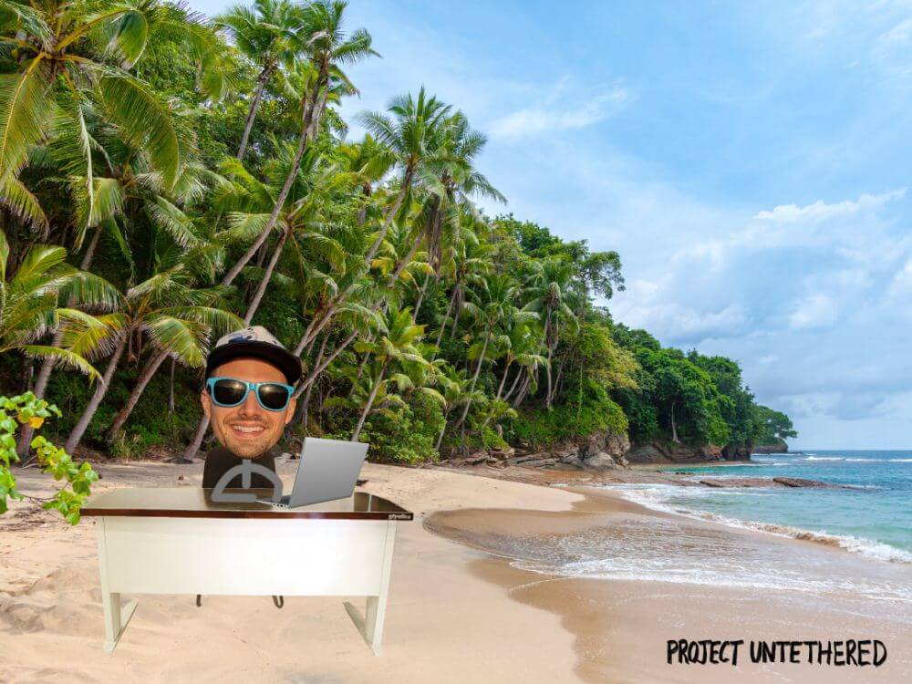 sitck guy working on his content writing business on the beach