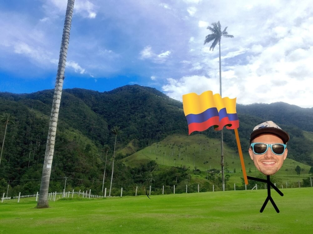 stick guy with colombia flag in cocora valley colombia