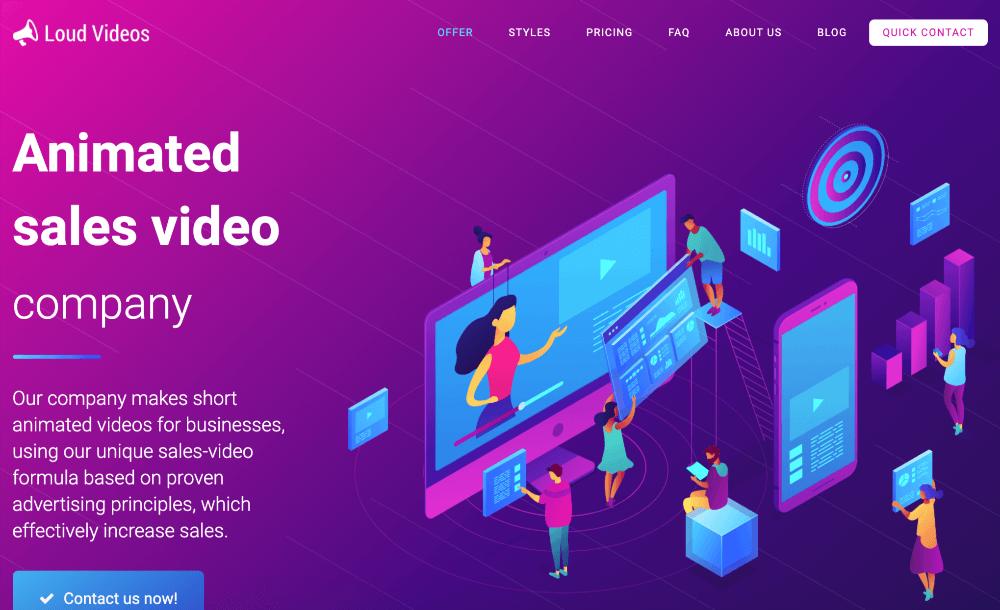 screenshot of loud videos homepage