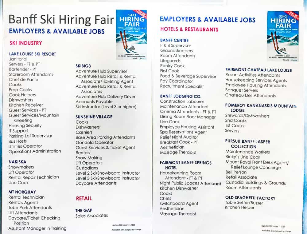 Brochure of Banff ski hiring fair showing all the different ski season jobs and employers
