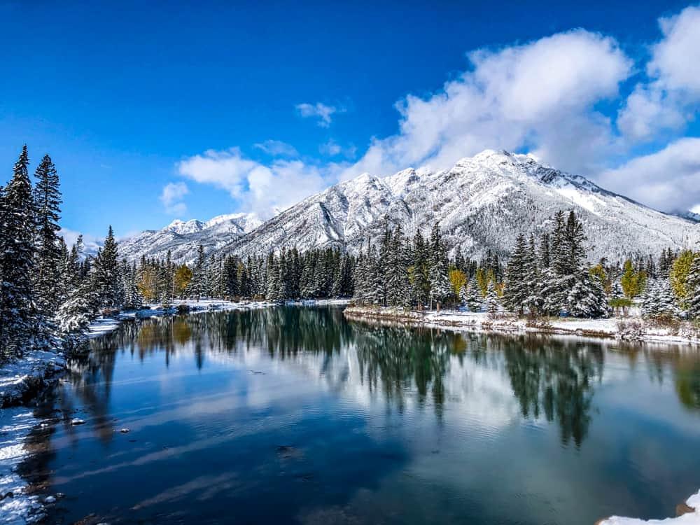 snowy mountains in ski season in Banff, Canada