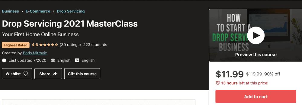 screenshot of drop servicing 2021 masterclass on udemy