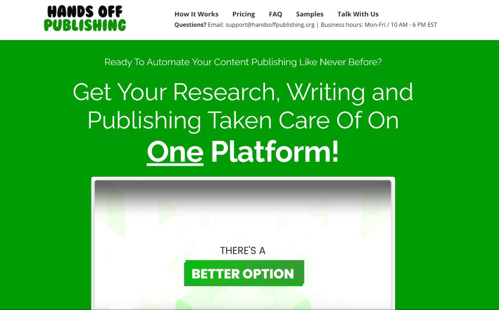 screenshot of Hands Off Publishing homepage
