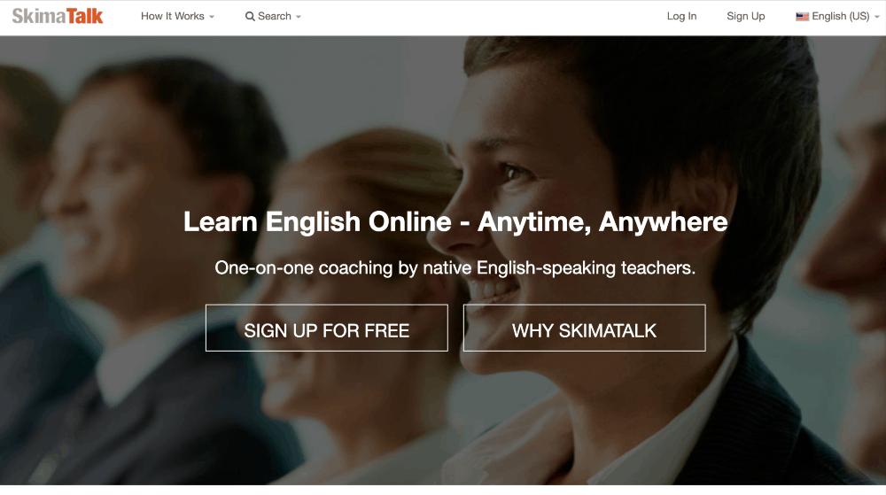 screenshot of skimatalk homepage