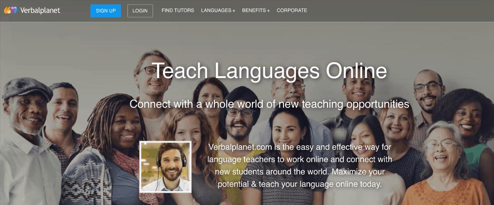 screenshot of verbalplanet homepage