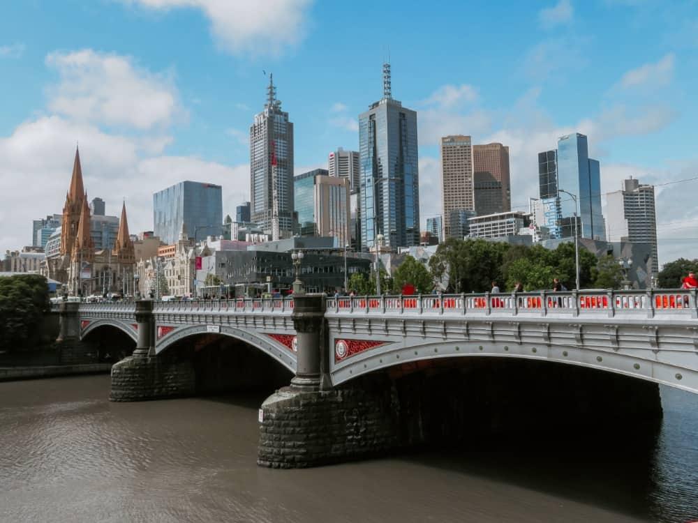 bridge with city view in Melbourne Australia