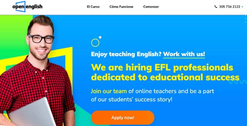 screenshot of Open English homepage