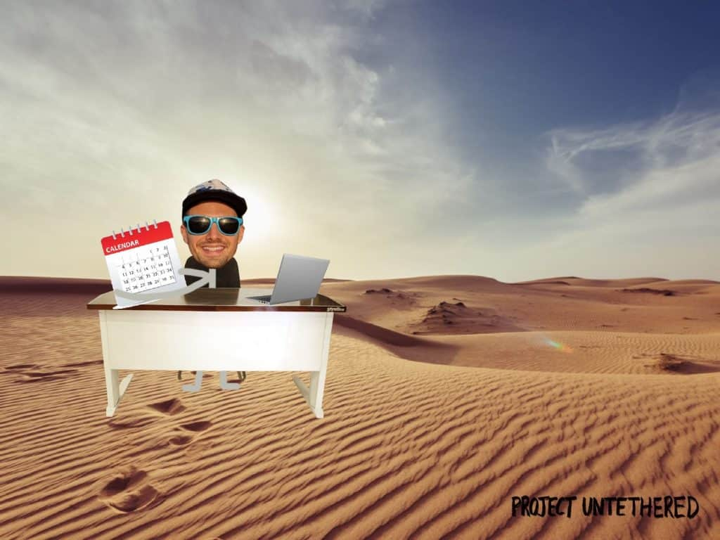 productivity hacks for digital nomads feature image - stick person working in the desert with a calendar