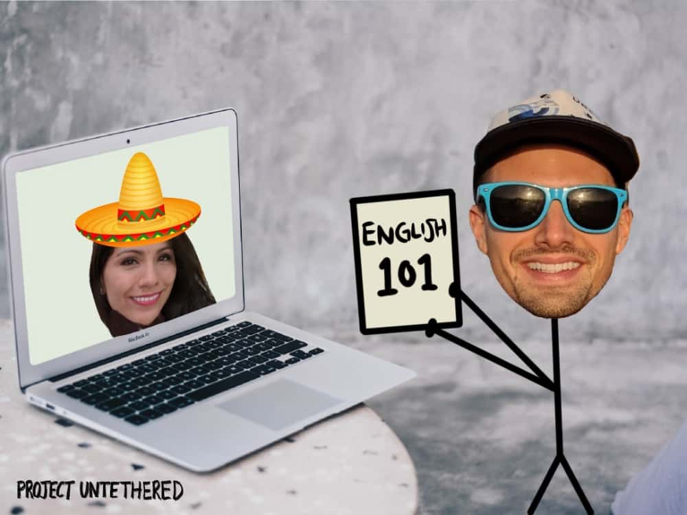 stick man showing how to teach English online to Mexican students