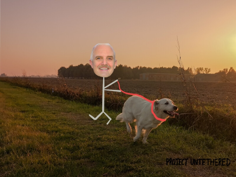 stick drawing of a senior citizen walking a dog