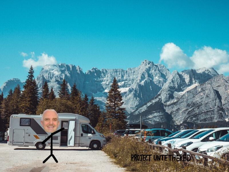 stick drawing of a senior citizen traveling the world in an RV