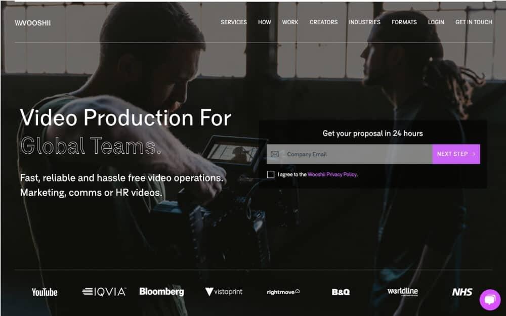 screenshot of Wooshii homepage