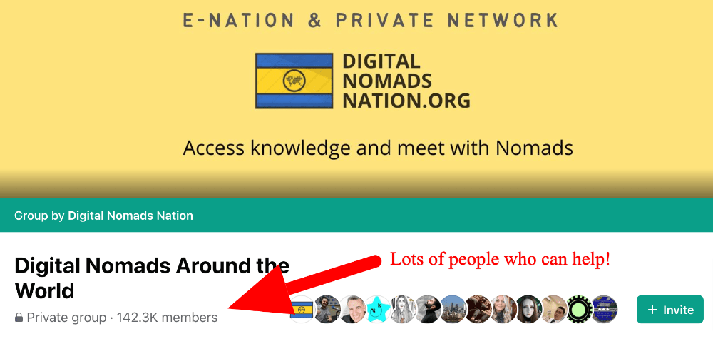 screenshot of the digital nomads around the world facebook group