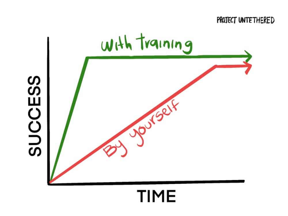 graph comparing the learning curve to make 50 dollars a day online trying to figure things out yourself vs investing in training