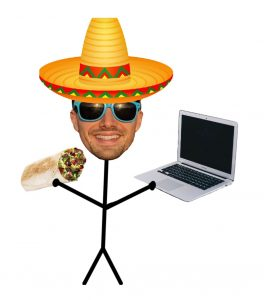 cultural digital nomad with a sombrero holding a burrito