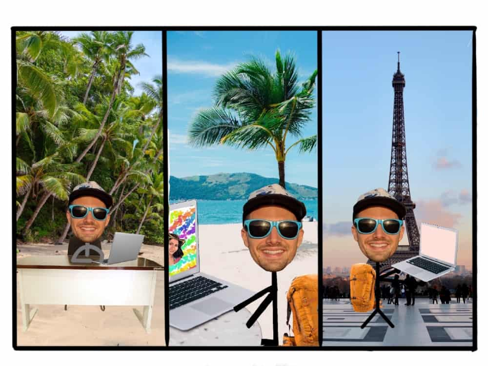 graphic showing someone working in three different types of digital nomad destinations