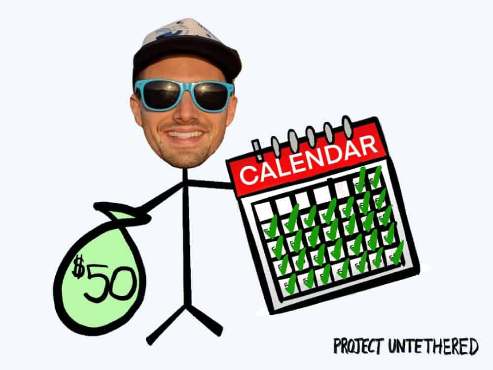 graphic of stick-guy holding calendar in one hand and money in the other