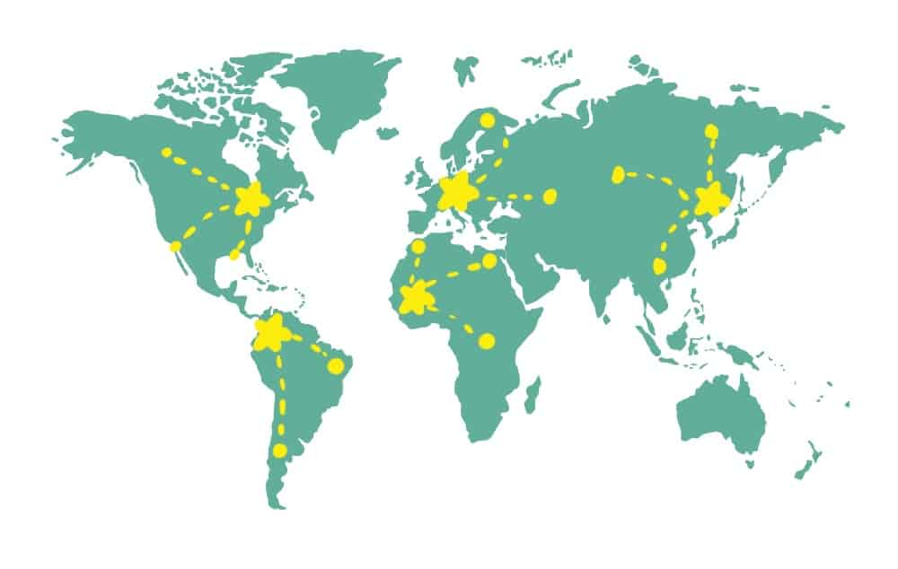world map showing how a digital nomad can base themselves in various destinations and do short trips from each base