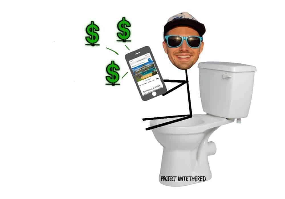 guy sitting on the toilet on phone making money