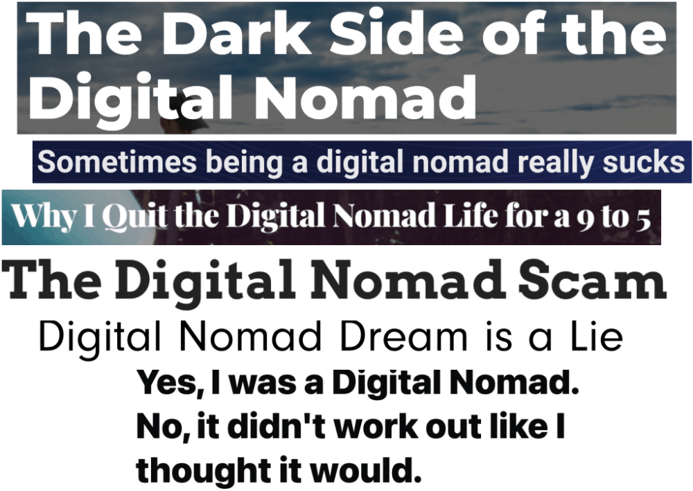 collage of different article titles about the negative side of digital nomad life