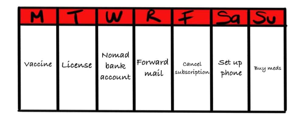 calendar showing pre-trip to-do tasks