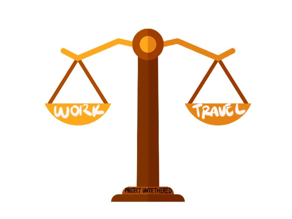 a balance scale with work on one side and travel on the other