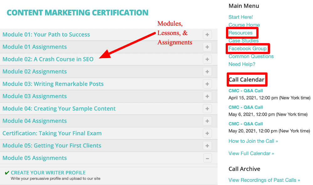 screenshot of the content marketing certification course dashboard