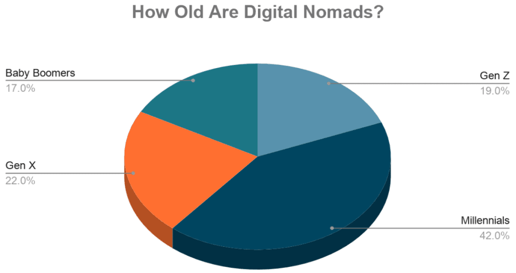pie chart showing breakdown of digital nomad age demographics