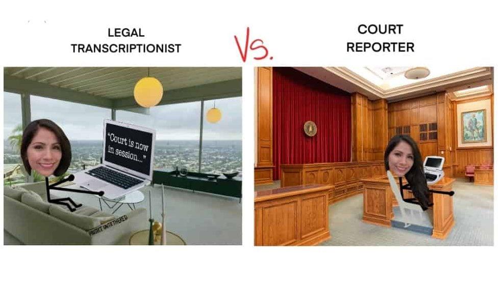 photo of legal transcriptionist vs court reporter