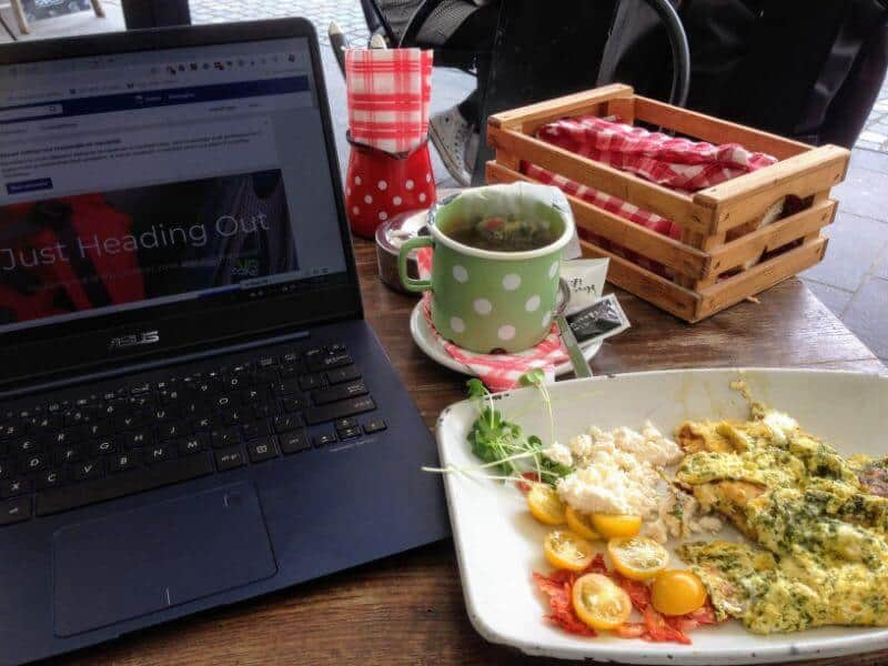 breakfast and working from a café in Ljubljana