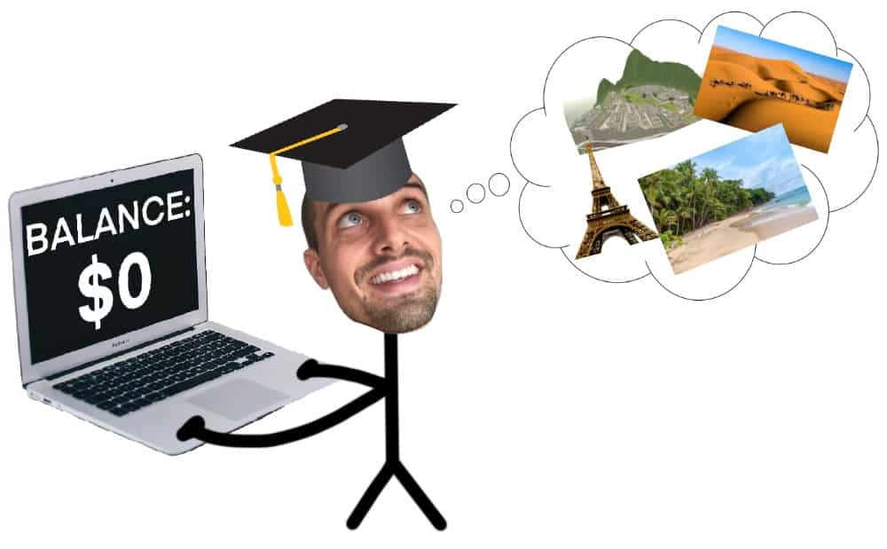 graphic of guy thinking about how to travel after college with no money