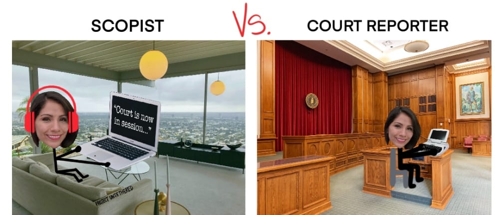 image comparing scopist vs court reporter