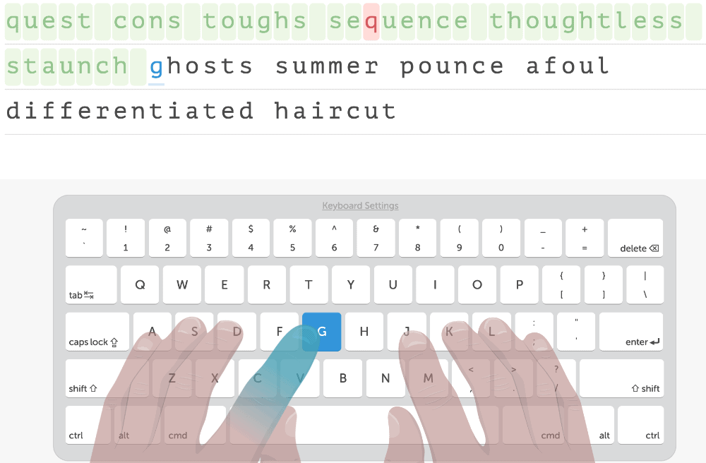 screenshot of Free typing lessons on Typing.com