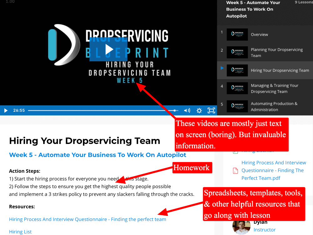 screenshot of a lesson in the drop servicing blueprint course