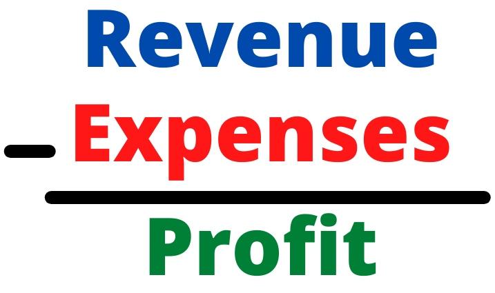 graphic that shows revenue minus expenses equals profit